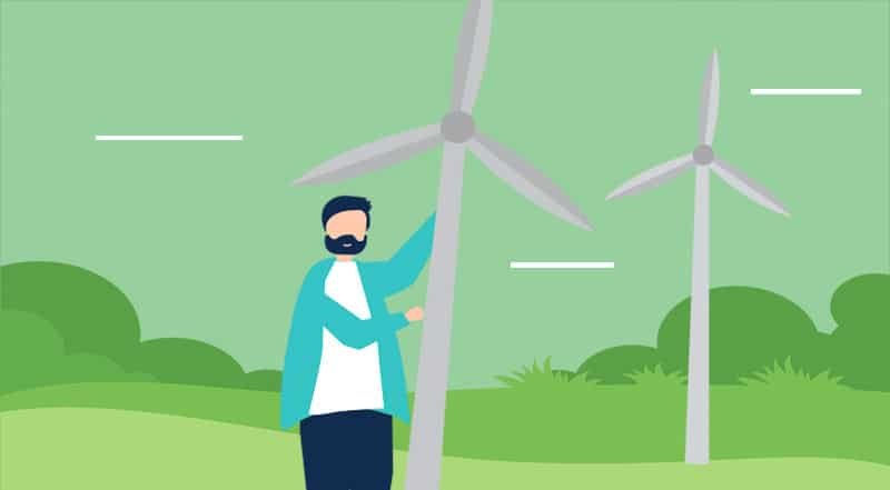man holding wind turbine
