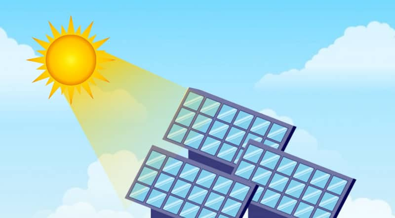 sun and solar panels vector