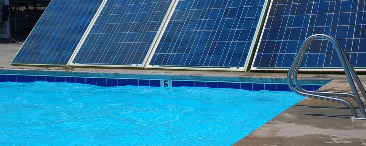 swiming pool heated by solar panel